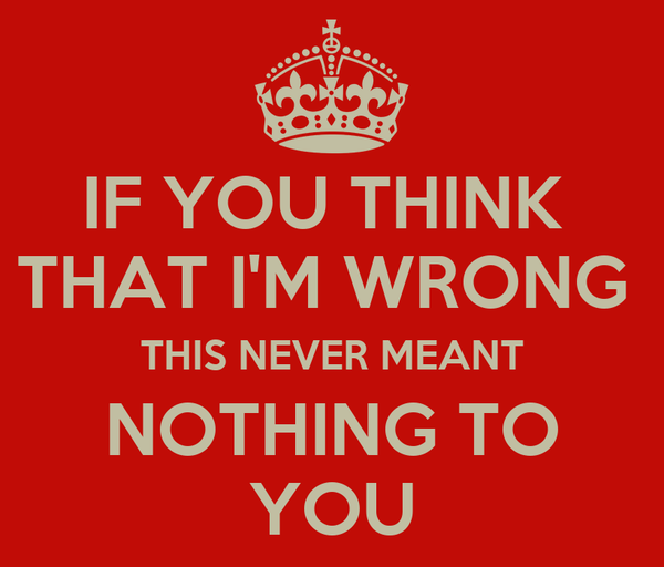 IF YOU THINK  THAT I'M WRONG  THIS NEVER MEANT NOTHING TO YOU