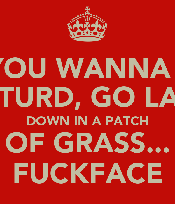 IF YOU WANNA BE  A TURD, GO LAY  DOWN IN A PATCH OF GRASS... FUCKFACE