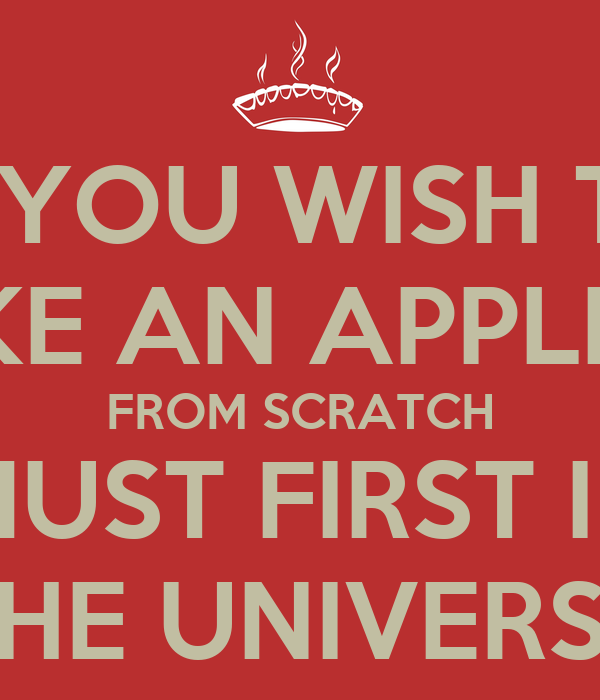IF YOU WISH TO MAKE AN APPLE PIE FROM SCRATCH YOU MUST FIRST INVENT THE UNIVERSE