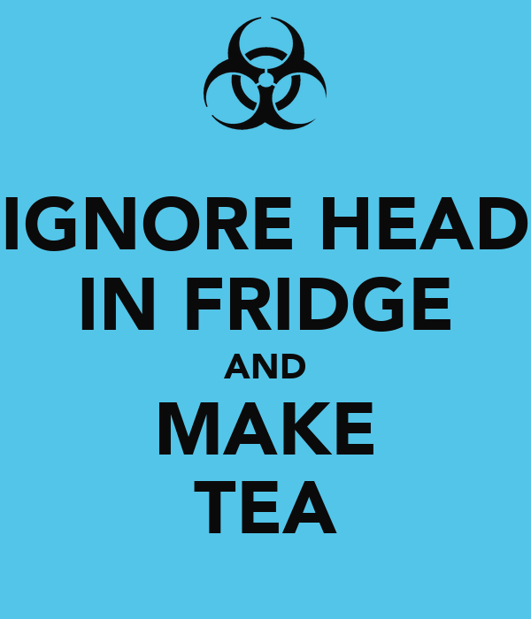 IGNORE HEAD IN FRIDGE AND MAKE TEA