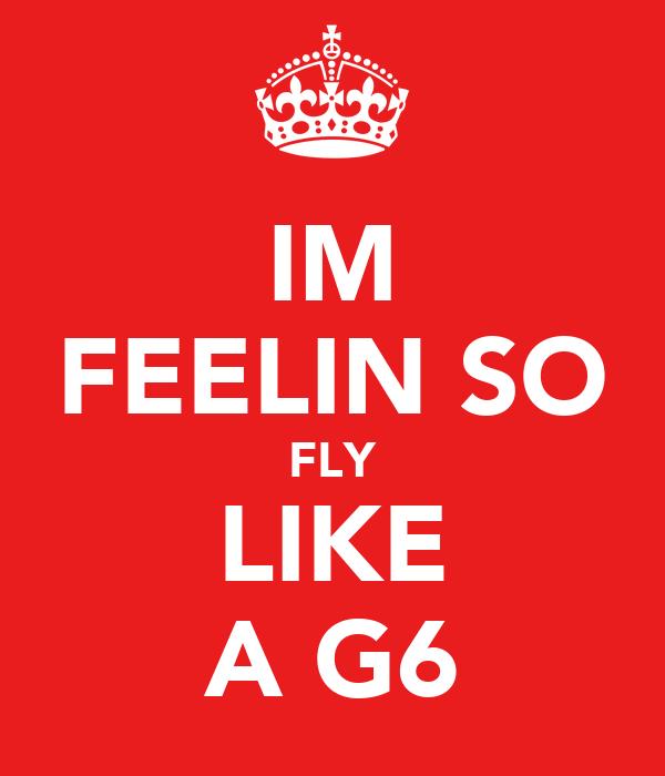 IM FEELIN SO FLY LIKE A G6