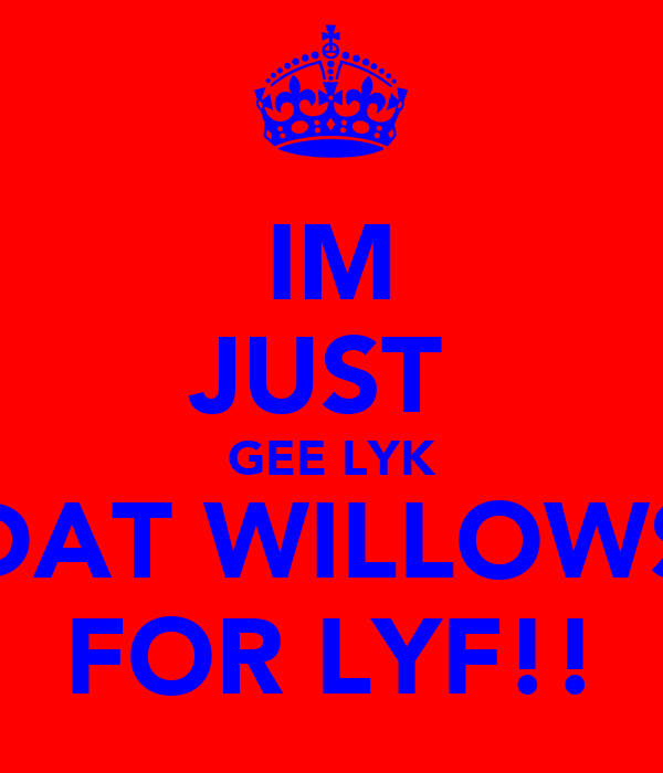 IM JUST  GEE LYK DAT WILLOWS FOR LYF!!