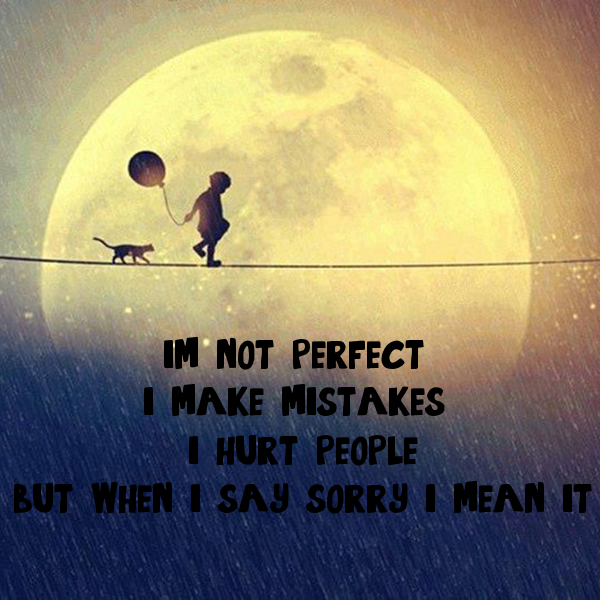i'm not perfect  i make mistakes  i hurt people but when i say sorry i mean it
