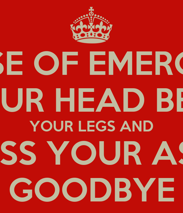 IN CASE OF EMERGENCY PUT YOUR HEAD BETWEEN YOUR LEGS AND KISS YOUR ASS GOODBYE