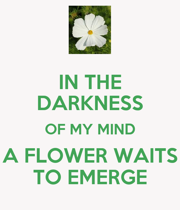 IN THE DARKNESS OF MY MIND A FLOWER WAITS TO EMERGE