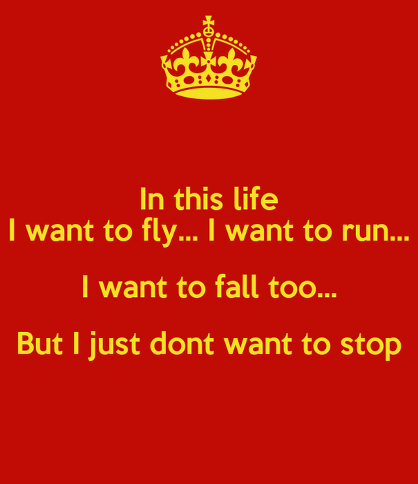 In this life I want to fly... I want to run... I want to fall too... But I just dont want to stop
