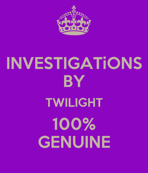 INVESTIGATiONS BY TWILIGHT 100% GENUINE