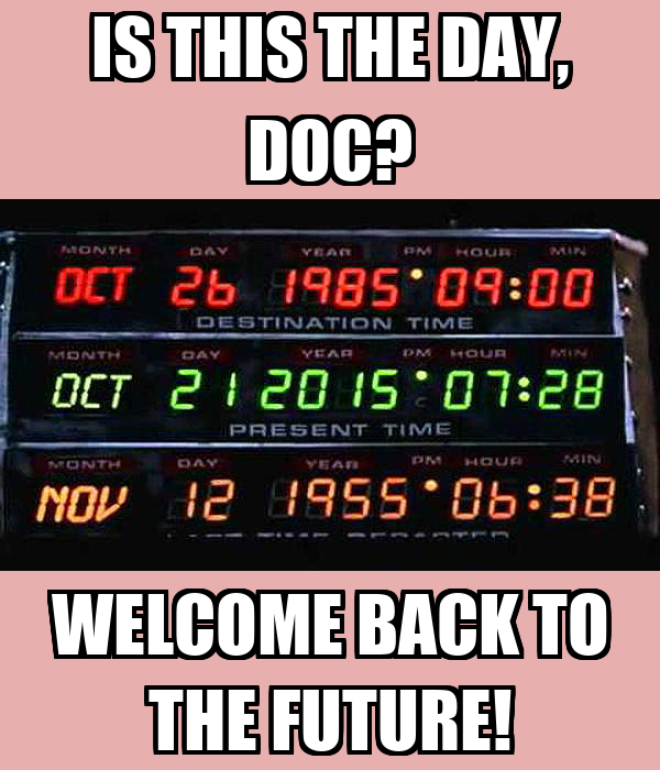 IS THIS THE DAY, DOC? WELCOME BACK TO THE FUTURE!