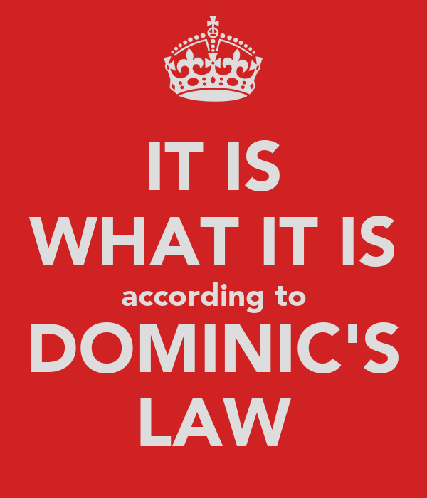 IT IS WHAT IT IS according to DOMINIC'S LAW