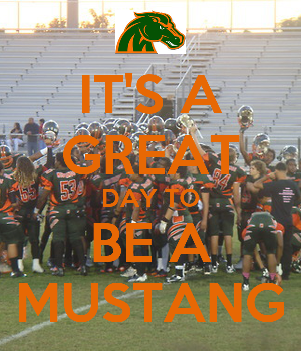 IT'S A GREAT DAY TO BE A MUSTANG