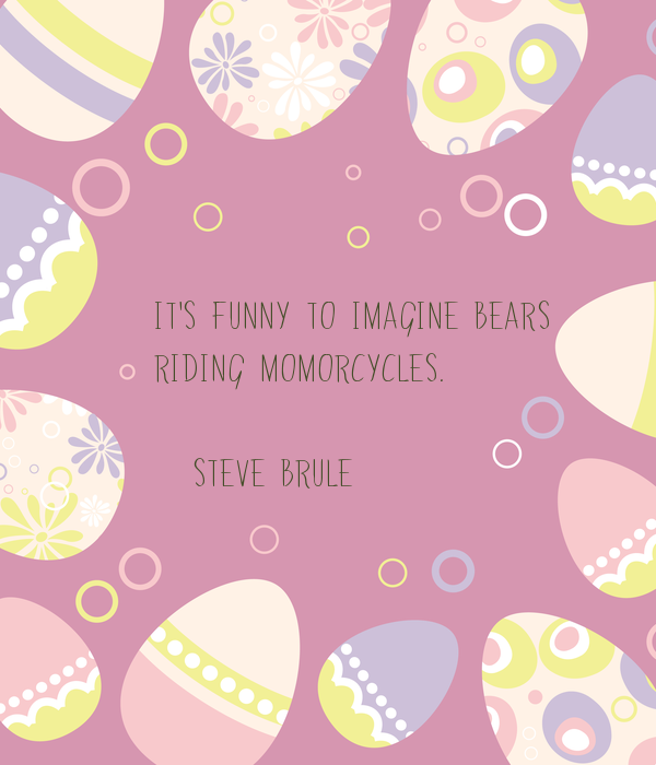 It's funny to imagine bears  riding momorcycles.  (Steve Brule)