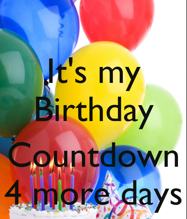 It's my Birthday  Countdown 4 more days