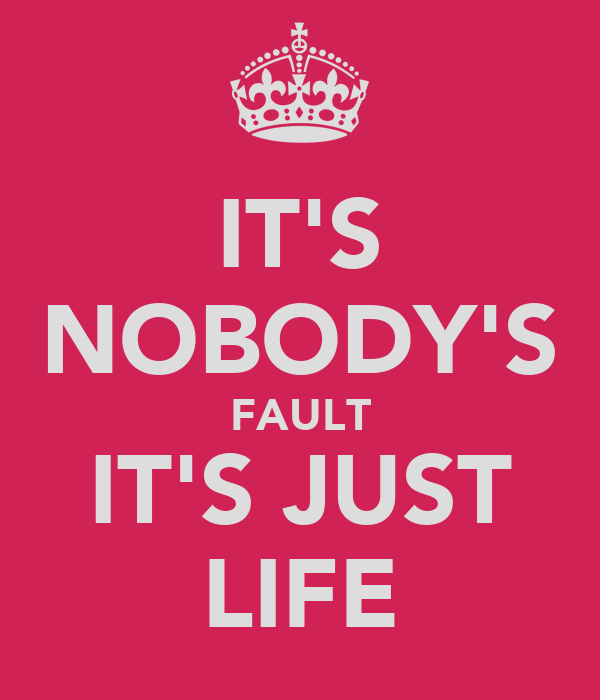 IT'S NOBODY'S FAULT IT'S JUST LIFE