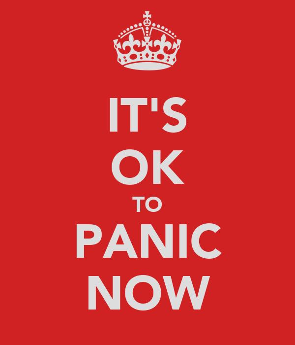 IT'S OK TO PANIC NOW