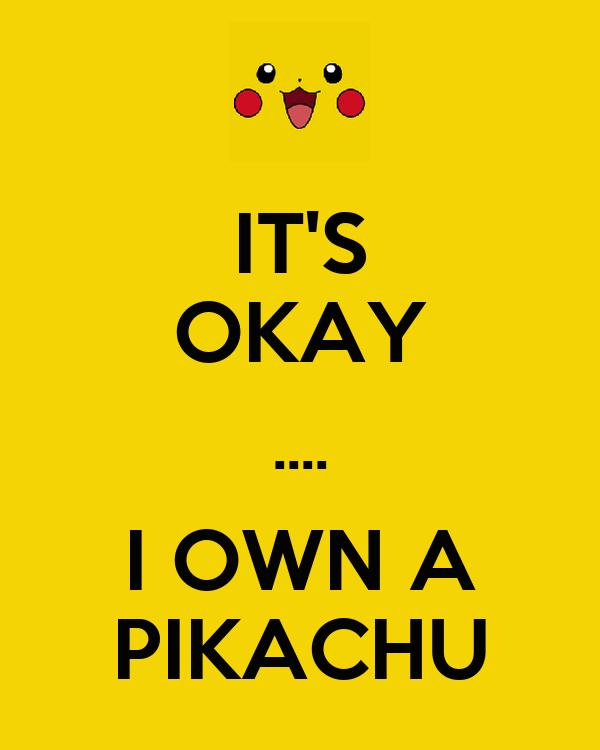 IT'S OKAY .... I OWN A PIKACHU