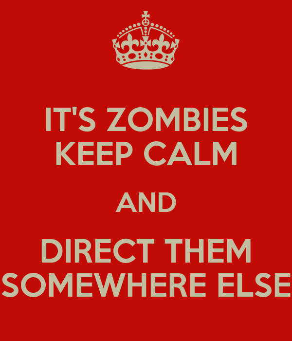 IT'S ZOMBIES KEEP CALM AND DIRECT THEM SOMEWHERE ELSE