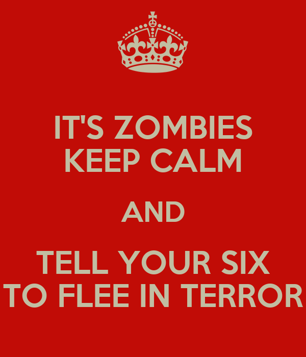 IT'S ZOMBIES KEEP CALM AND TELL YOUR SIX TO FLEE IN TERROR
