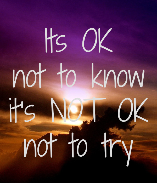 Its OK not to know it's NOT OK not to try