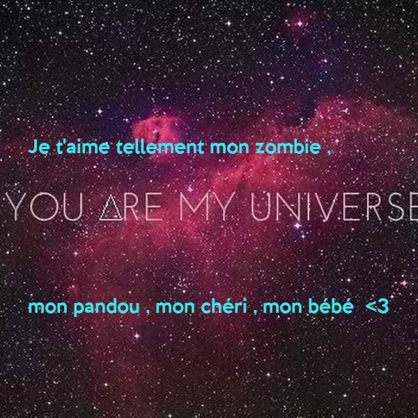 Je t'aime tellement mon zombie ,      mon pandou , mon chéri , mon bébé  <3