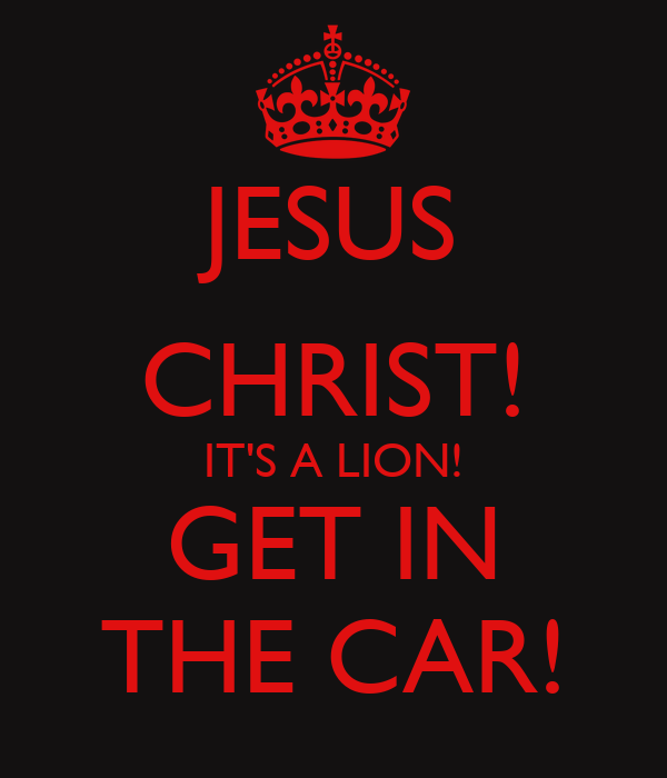 JESUS CHRIST! IT'S A LION! GET IN THE CAR!