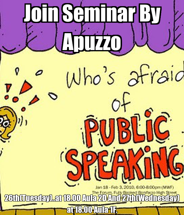 Join Seminar By Apuzzo 26th(Tuesday)..at 18.00 Aula 2D And 27th(Wednesday) at 18.00 Aula 1F.