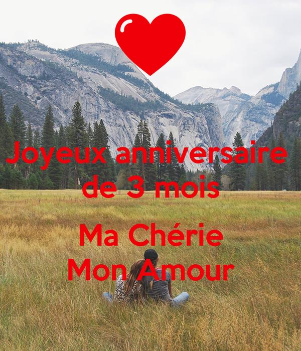 Joyeux Anniversaire De 3 Mois Ma Chérie Mon Amour Poster