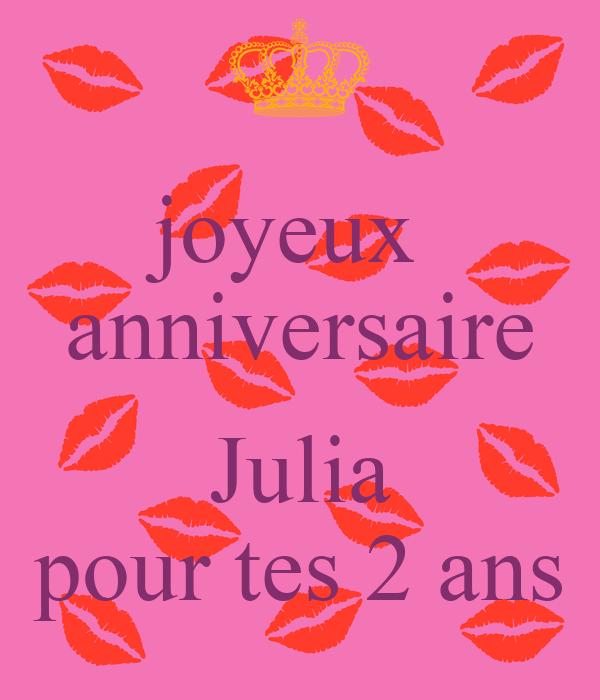 Joyeux Anniversaire Julia Pour Tes 2 Ans Poster Maman Keep Calm