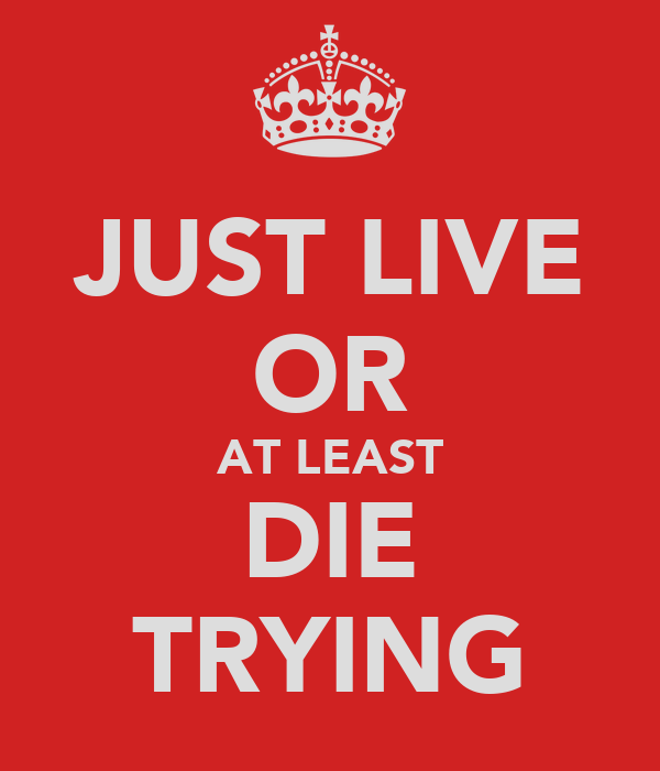 JUST LIVE OR AT LEAST DIE TRYING