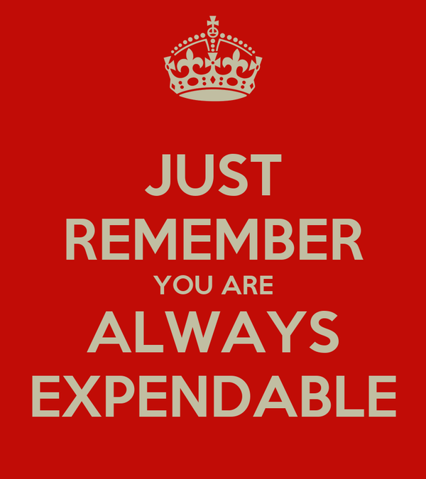 JUST REMEMBER YOU ARE ALWAYS EXPENDABLE