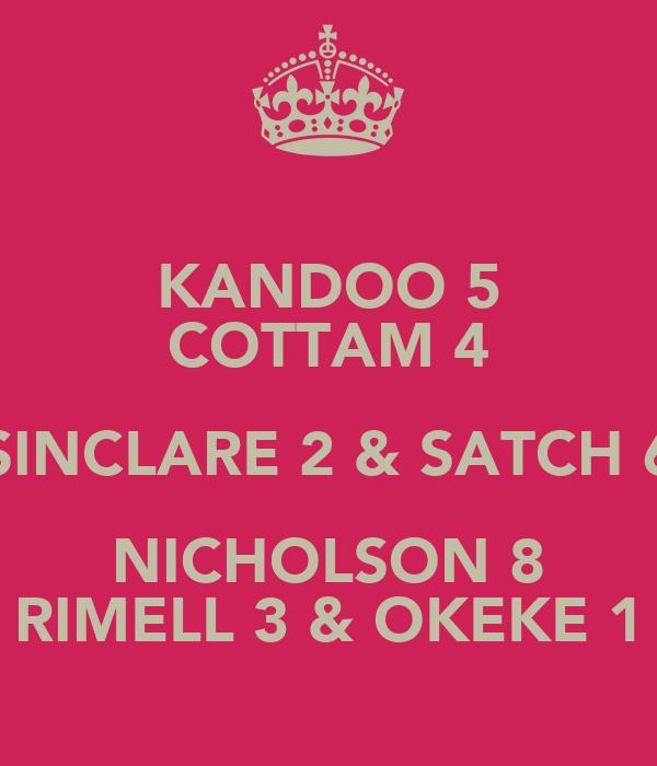 KANDOO 5 COTTAM 4 SINCLARE 2 & SATCH 6 NICHOLSON 8 RIMELL 3 & OKEKE 1
