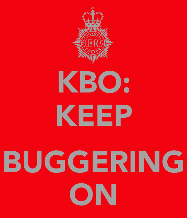 KBO: KEEP  BUGGERING ON