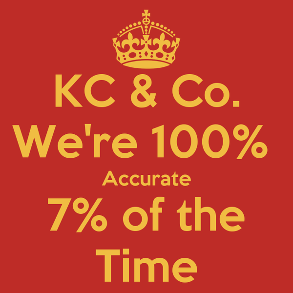 KC & Co. We're 100%  Accurate 7% of the Time