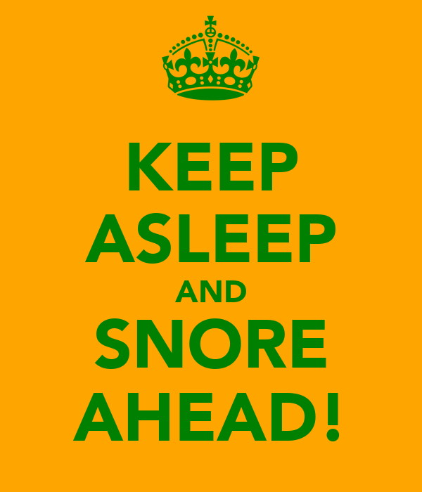 KEEP ASLEEP AND SNORE AHEAD!