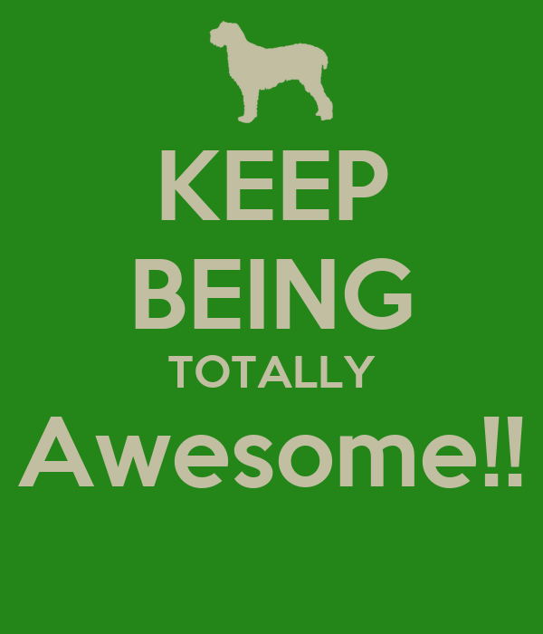 KEEP BEING TOTALLY Awesome!!