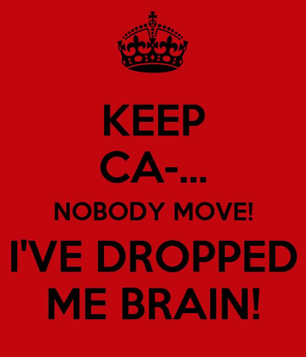 KEEP CA-... NOBODY MOVE! I'VE DROPPED ME BRAIN!
