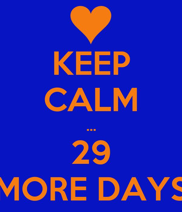 KEEP CALM ... 29 MORE DAYS