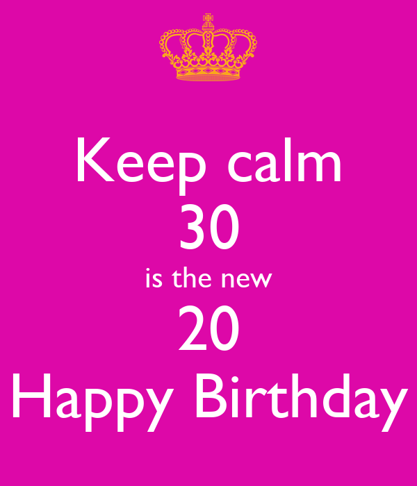 Keep calm 30 is the new 20 Happy Birthday