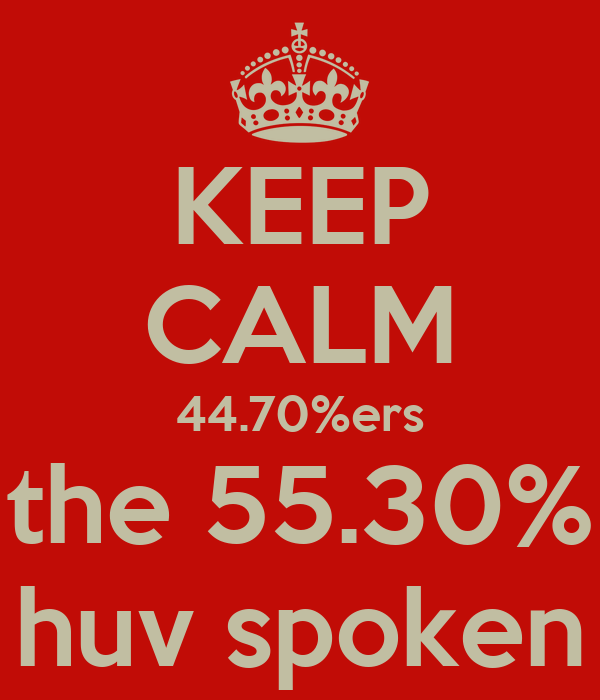 KEEP CALM 44.70%ers the 55.30% huv spoken