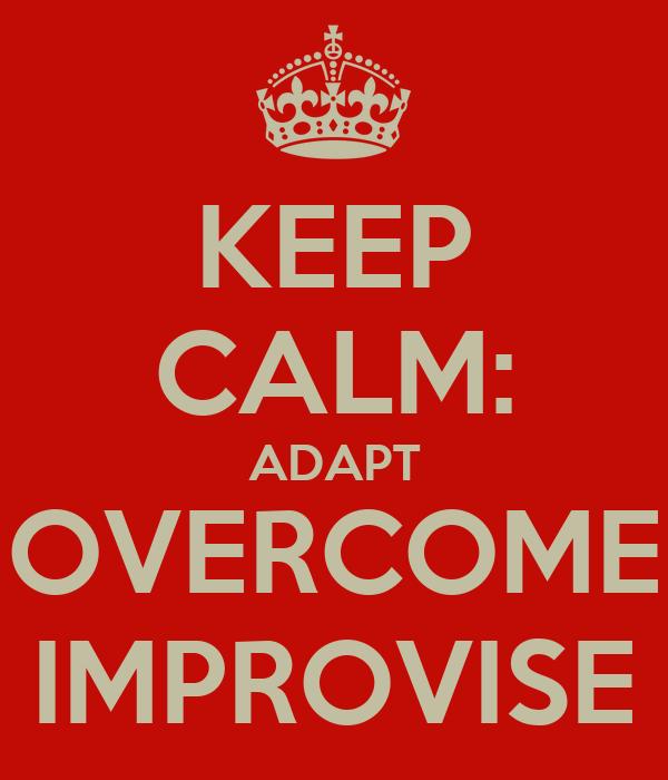 KEEP CALM: ADAPT OVERCOME IMPROVISE