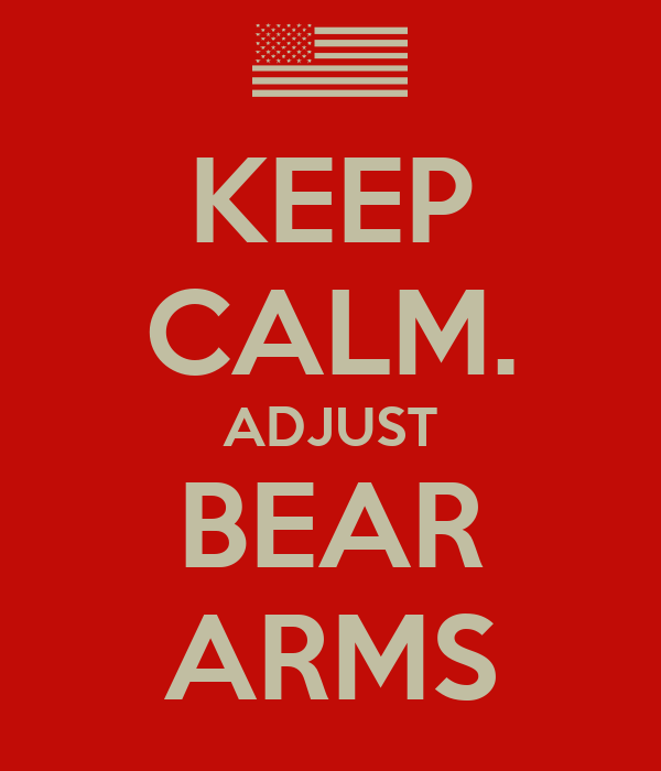 KEEP CALM. ADJUST BEAR ARMS