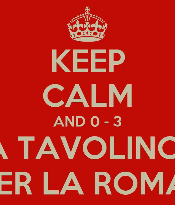 KEEP CALM AND 0 - 3 A TAVOLINO  PER LA ROMA