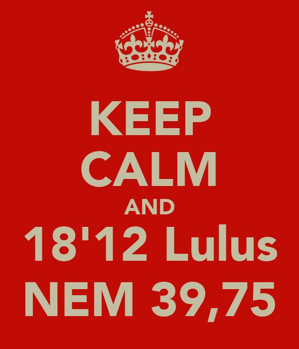 KEEP CALM AND 18'12 Lulus NEM 39,75