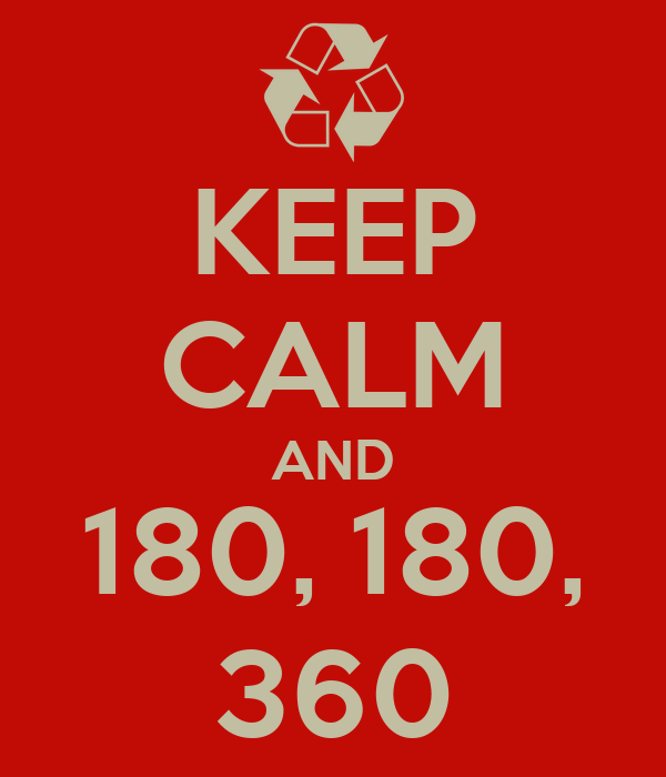 KEEP CALM AND 180, 180, 360