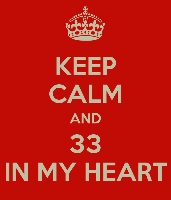 KEEP CALM AND 33 IN MY HEART