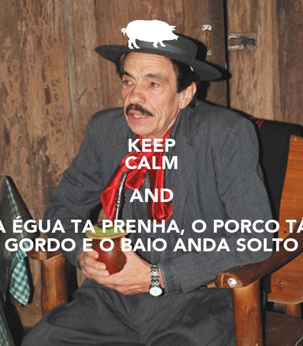 KEEP CALM AND A ÉGUA TA PRENHA, O PORCO TÁ GORDO E O BAIO ANDA SOLTO