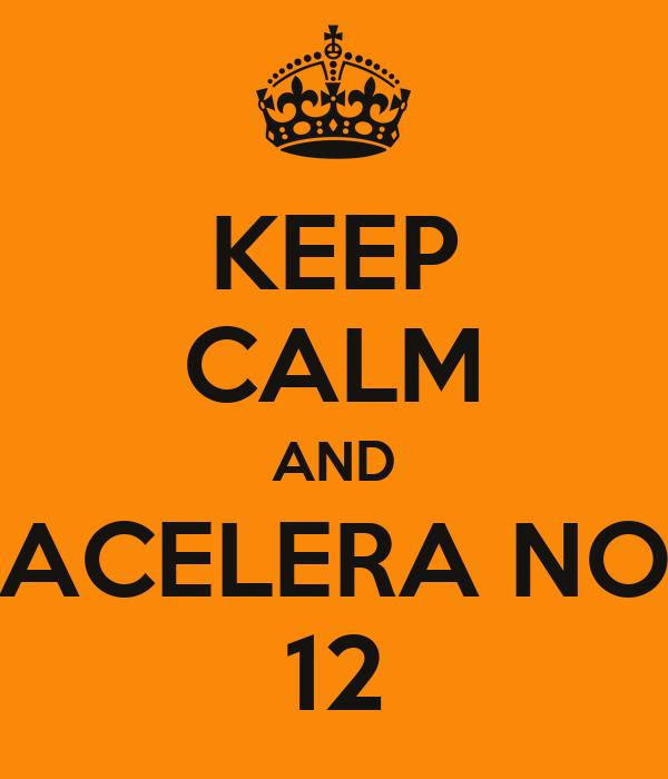 KEEP CALM AND ACELERA NO 12