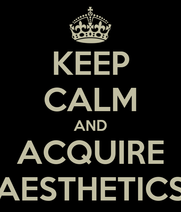KEEP CALM AND ACQUIRE AESTHETICS