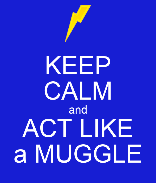 KEEP CALM and ACT LIKE a MUGGLE