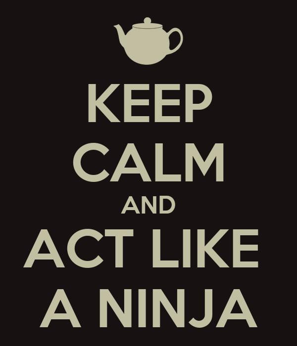 KEEP CALM AND ACT LIKE  A NINJA