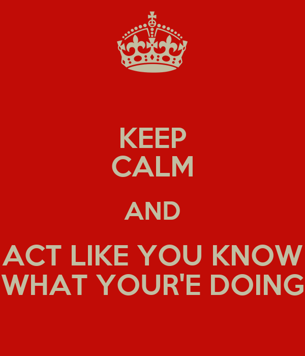 KEEP CALM AND ACT LIKE YOU KNOW WHAT YOUR'E DOING